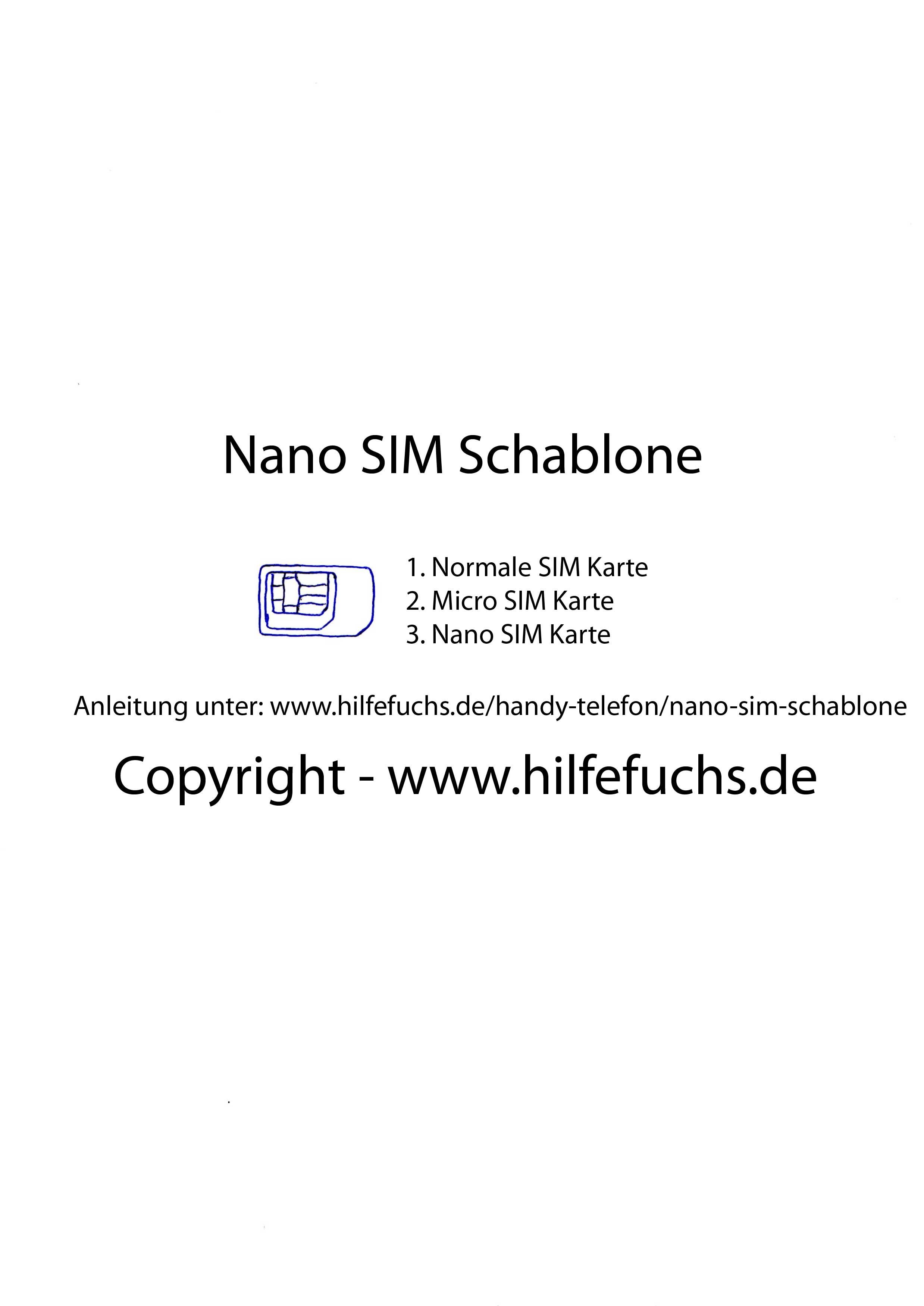 Nano Karte Zuschneiden.Nano Sim Für Das Iphone 5 Zuschneiden Nano Sim Schablone Zum